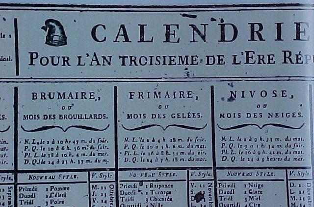 Calendrier Republicain 1793.L Origine